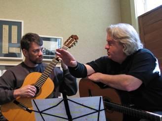 Scott Kritzer teaching private classical guitar lesson with student, Brent VanFossen